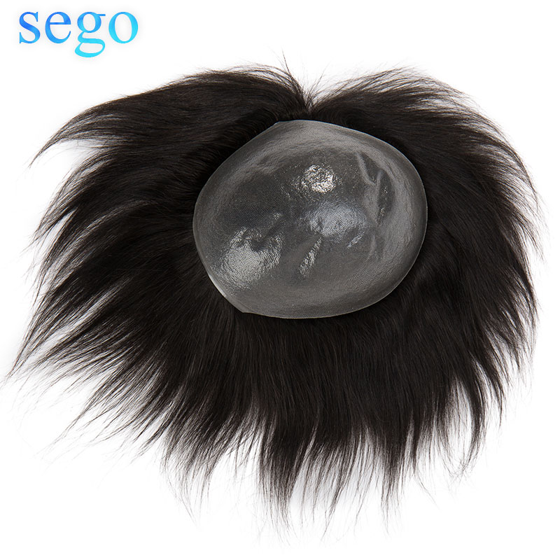 SEGO 8x10 Straight 0.08mm PU Thin Skin Men Toupee Real Human Hair Durable Indian Hair Non-Remy Wig Hair System Replacement 120%