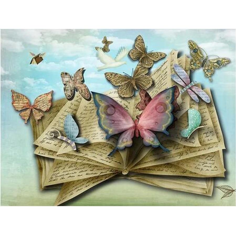 Pdmdog diy алмазная живопись бабочка книга полная квадратная