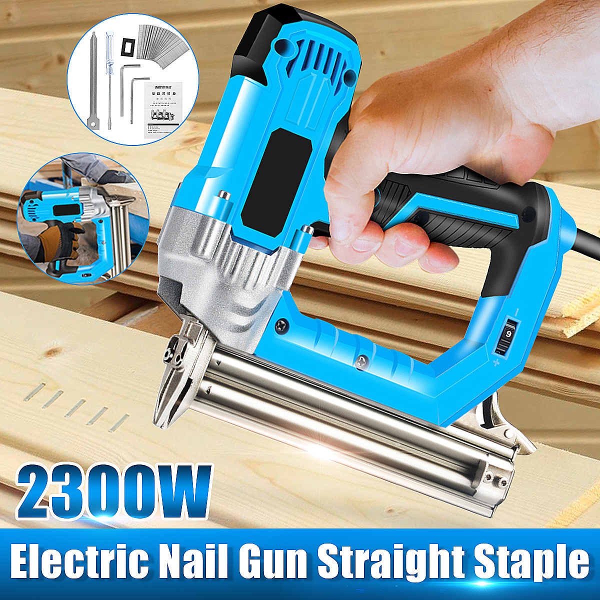 2300W Electric Staple Gun framing Straight Nail Heavy Duty Woodworking Supplies