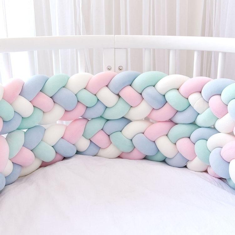 Baby Crib Bumper Knotted Braided Plush Nursery Cradle Decor Newborn Gift Pillow Cushion Junior Bed Sleep Bumper