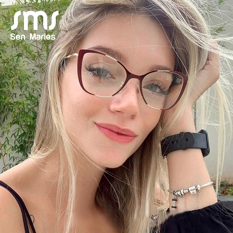 Fashion Cat Eye Half Frame Glasses Frames Men Women Luxury Brand Designer Optical Vintage Goggle Computer Glasses For Female