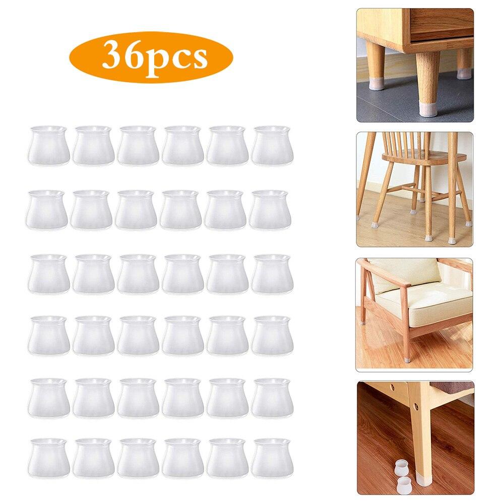 Cubierta redonda de silicona para proteger patas de los muebles, protectores de suelo antiarañazos para sillas, tapones antideslizantes para patas, 36 unidades