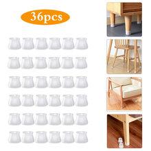 36 pçs redonda cadeira de mesa de silicone pés capa protetor de piso móveis pés anti-risco almofada protetora anti-deslizamento cadeira perna tampas