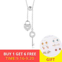 цена на New fashion Romantic 925 Sterling Silver Key of Heart Lock Chain With Clear CZ Pendant Necklaces for Women Jewelry free shipping