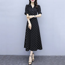 Summer Dress Women Black M-6XL Plus Size Dot Print Short Sleeve Chiffon Dresses 2019 New Korean Fashion Slim Maxi Vestidos LD322(China)