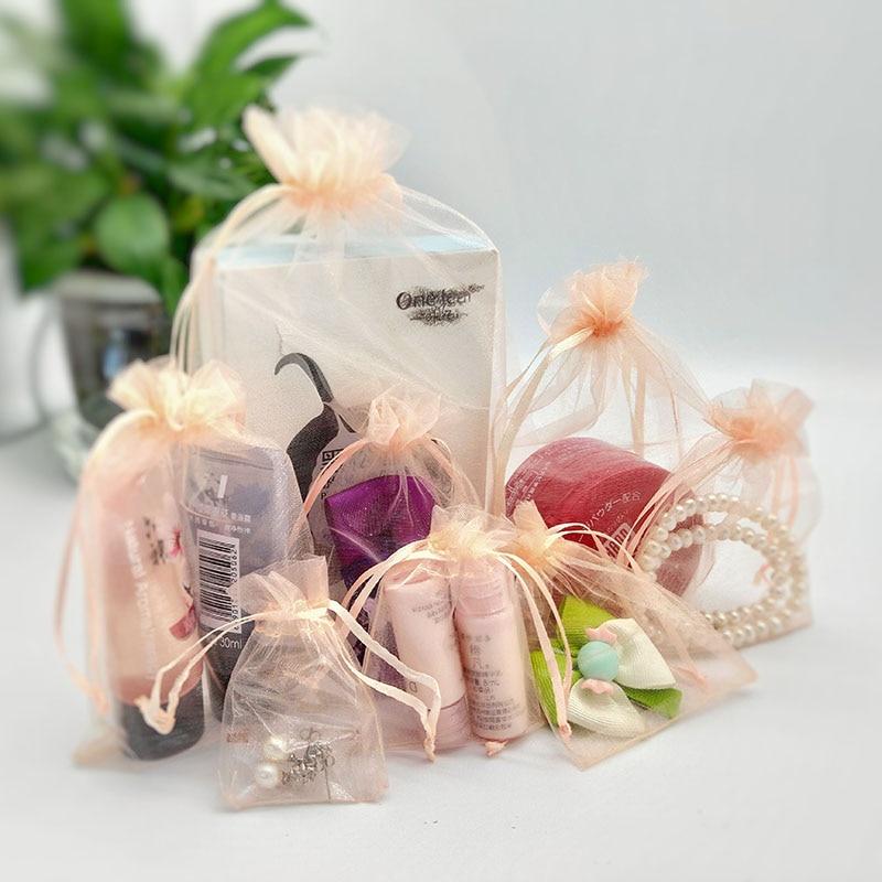 100 шт./лот сумки из органзы цвета шампанского на шнурке маленькие мешочки для ювелирных изделий сумки для рождественской свадебной упаковки...