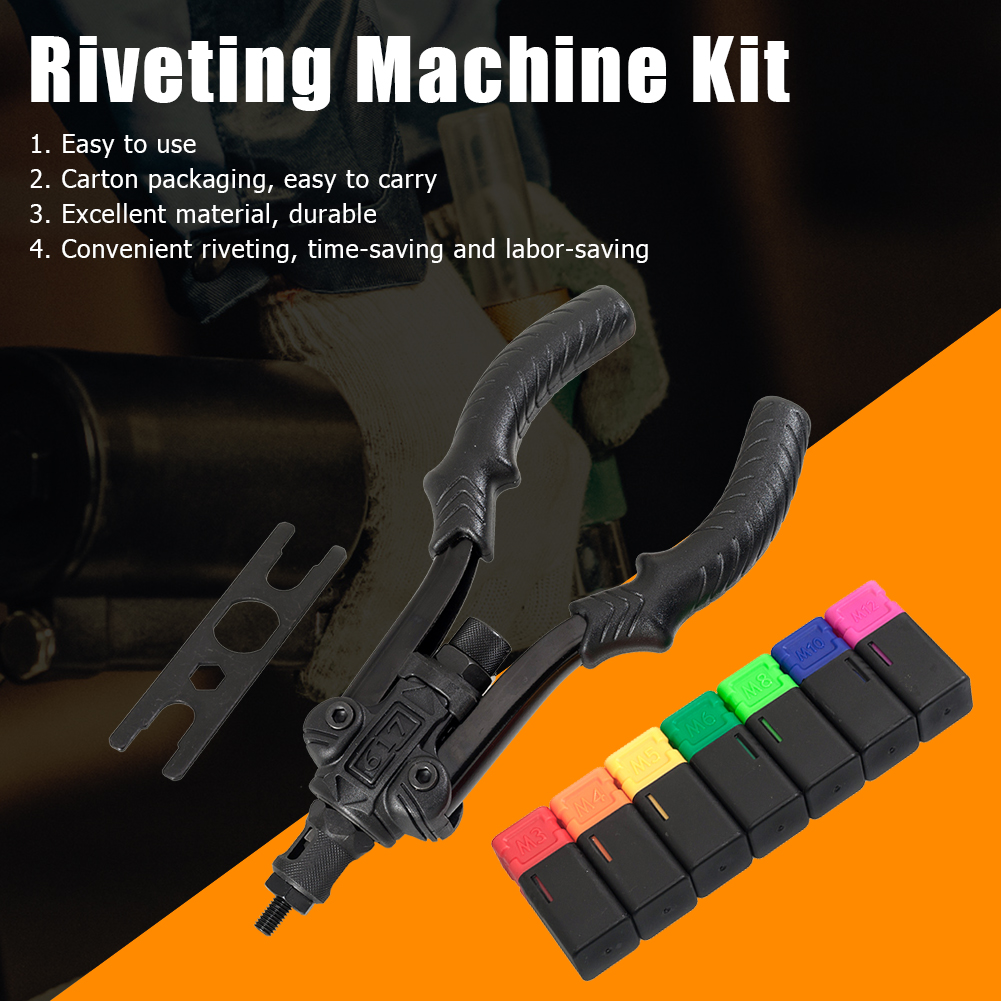 Portable M3-M8 Hand Riveter Nut Rivet Gun Kit Durable Stainless Steel Threaded Nut Rivet Tool Hand Tool Supplies