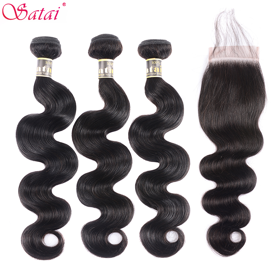 Satai Brazilian Body Wave Bundles With Closure Human Hair 3 Bundles With Closure Natural Color Non-Remy Hair Extension