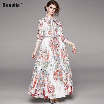 Banulin Fashion Runway Autumn Belted Dresses Womens Long Sleeve Elegant Vacation Holiday Printed Vintage Maxi Dress