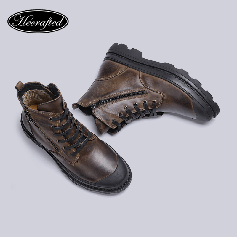 Natural Cow Leather Shoes Men snow Boots 2018 Handmade Retro Men warm boots CX9550JM