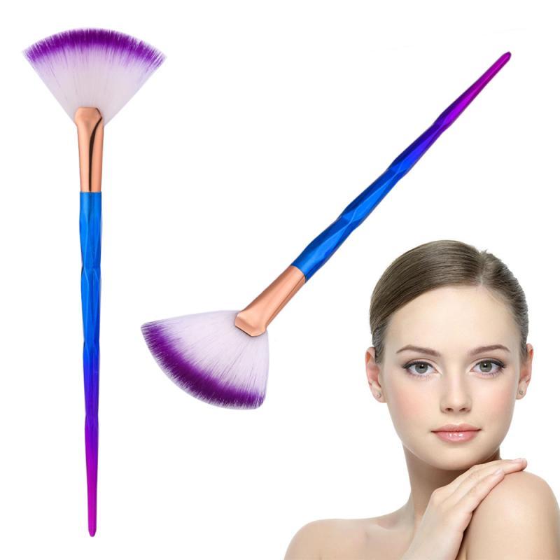 NEW Nylon Hair Multi-function Professional Makeup Brush Fan Shape Foundation Contour Power Cosmetic Tool Rainbow Handle TSLM1