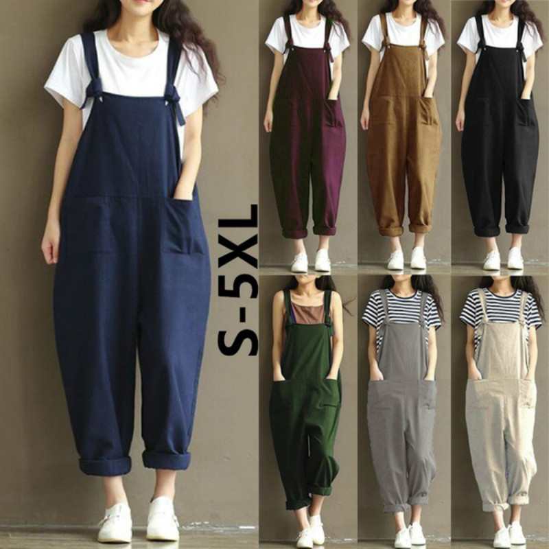 Womens Overalls Loose Dungarees Ladies Cami Romper Baggy Playsuit Jumpsuit Jenner Nicki Minaj Women Jumpsuit