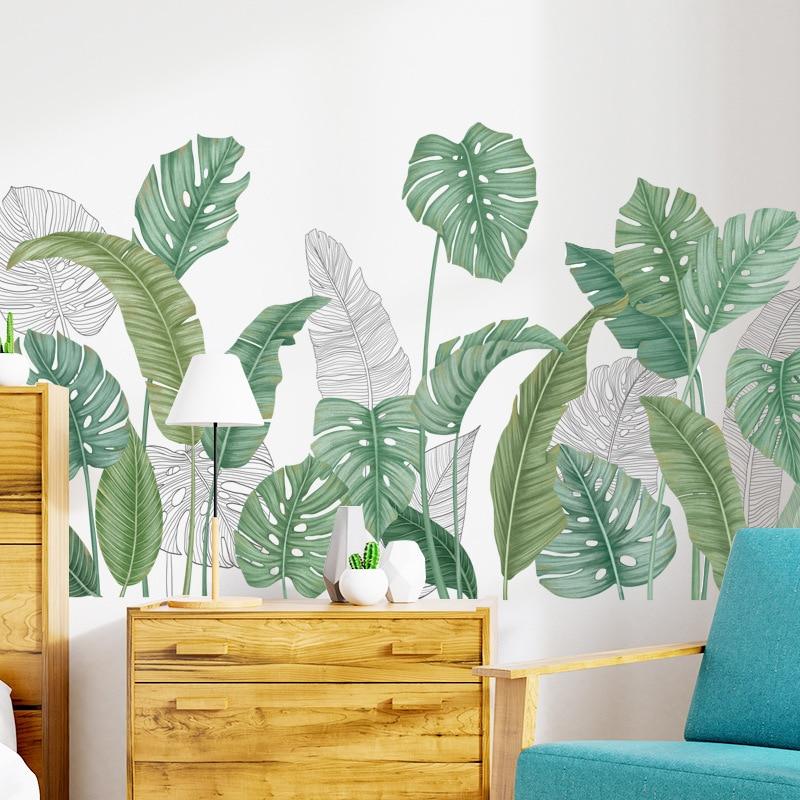 24 styles Green Leaves Wall Stickers for Bedroom Living room Dining room Kitchen Kids room DIY Vinyl Wall Decals Door Murals 4