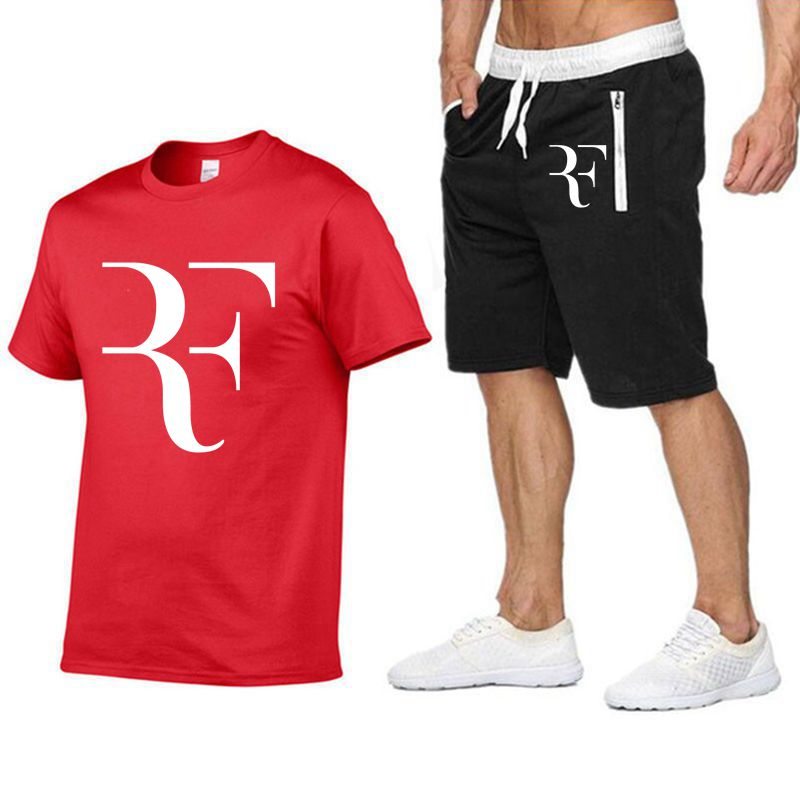 Roger Federer RF Tracksuit Summer Shirt +Shorts Outwear Sporting Men Sets T Shirts clothing Two piece suit Casual Tshirt-in Men's Sets from Men's Clothing