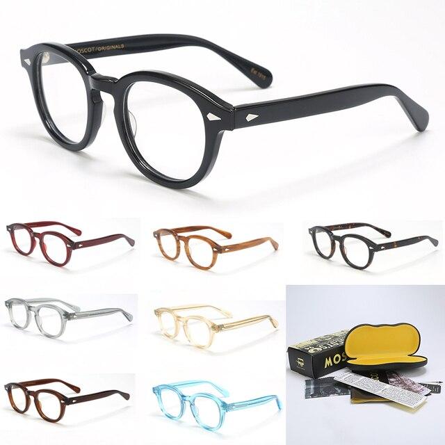 جوني ديب النظارات البصرية الإطار الرجال مع صندوق وحالة الكمبيوتر خمر Lemtosh نمط نظارات إطار مشهد للذكور عدسة