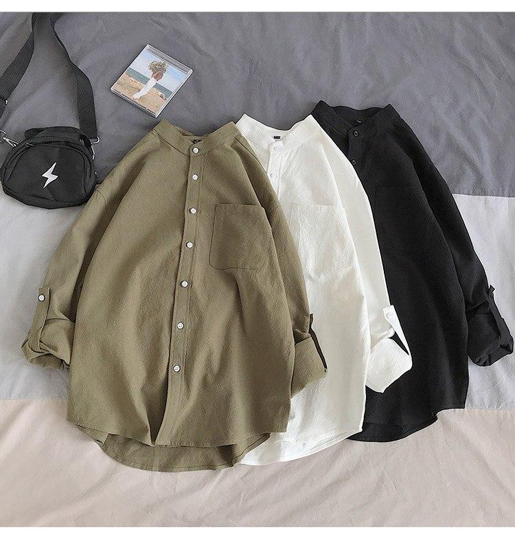 Hcf92bca6e73e45d0880365097464731f5 Simple Design Solid Colors Long Sleeve Shirts Korean Fashion Mandarin Collar 100% Cotton White Black Shirt Soft and Comfort