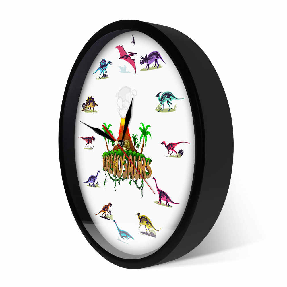 Volcanic Eruption With Dinosaurs Fossils Dino Skeletons Colorful Wall Clock