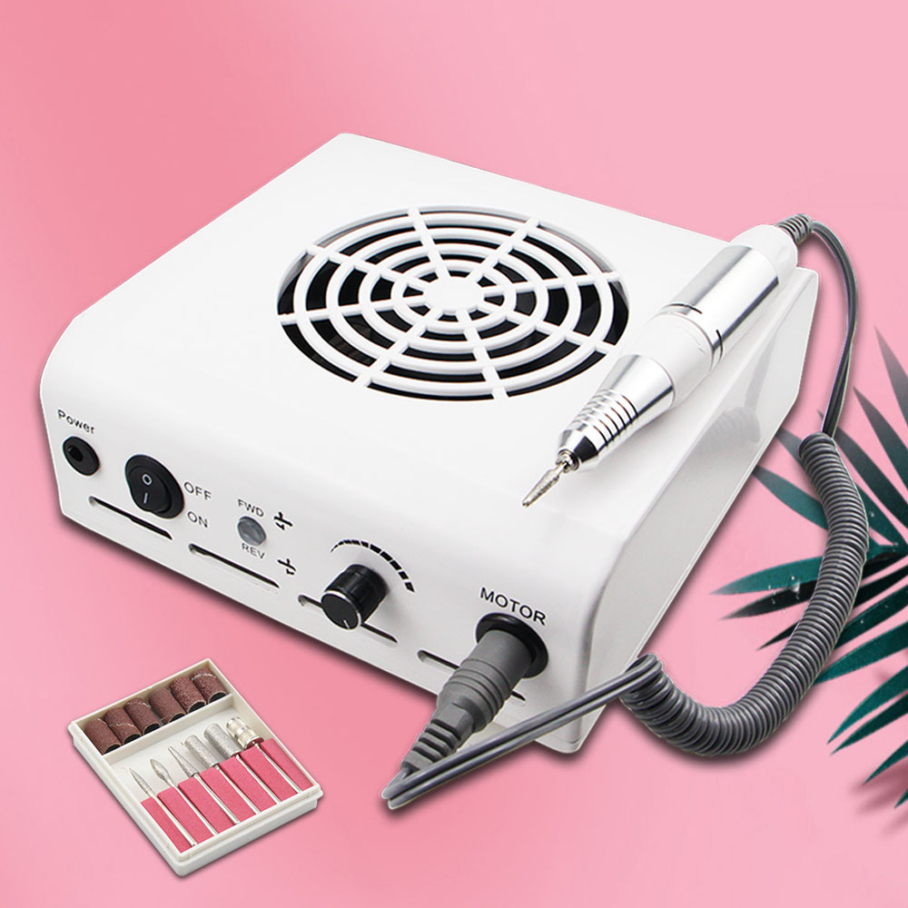 2-IN-1 Nail Drill & Nail Dust Collector Manicure With Powerful Fan Mill Cutter Machine For Manicure Nail Pedicure File