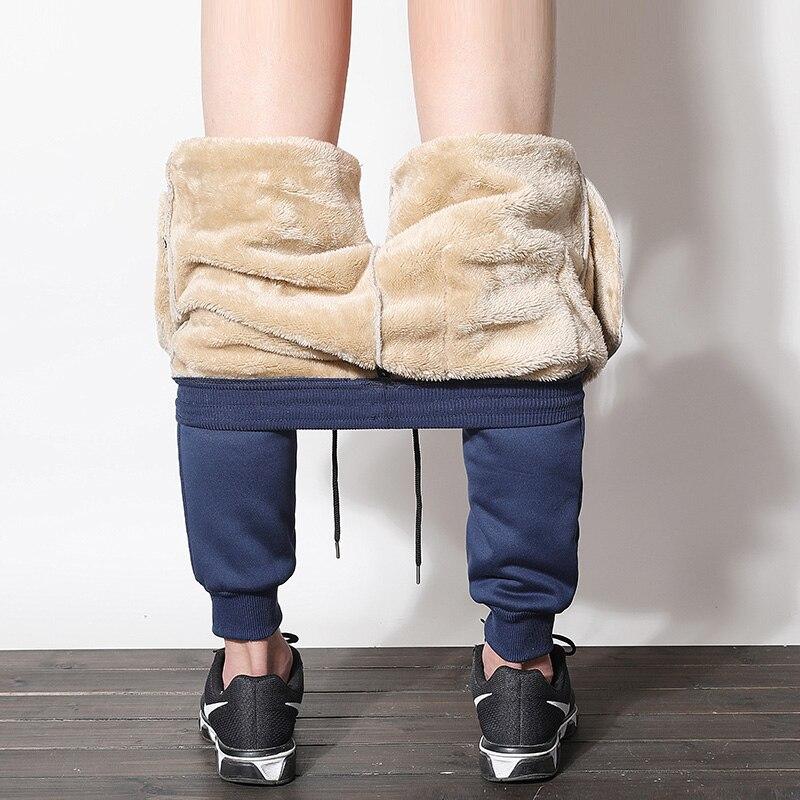 Men Winter Fleece Cashmere Velvet Thicken Pants Male Warm Trousers Joggers Sweatpants Male Elastic Waist Loose Long Trousers