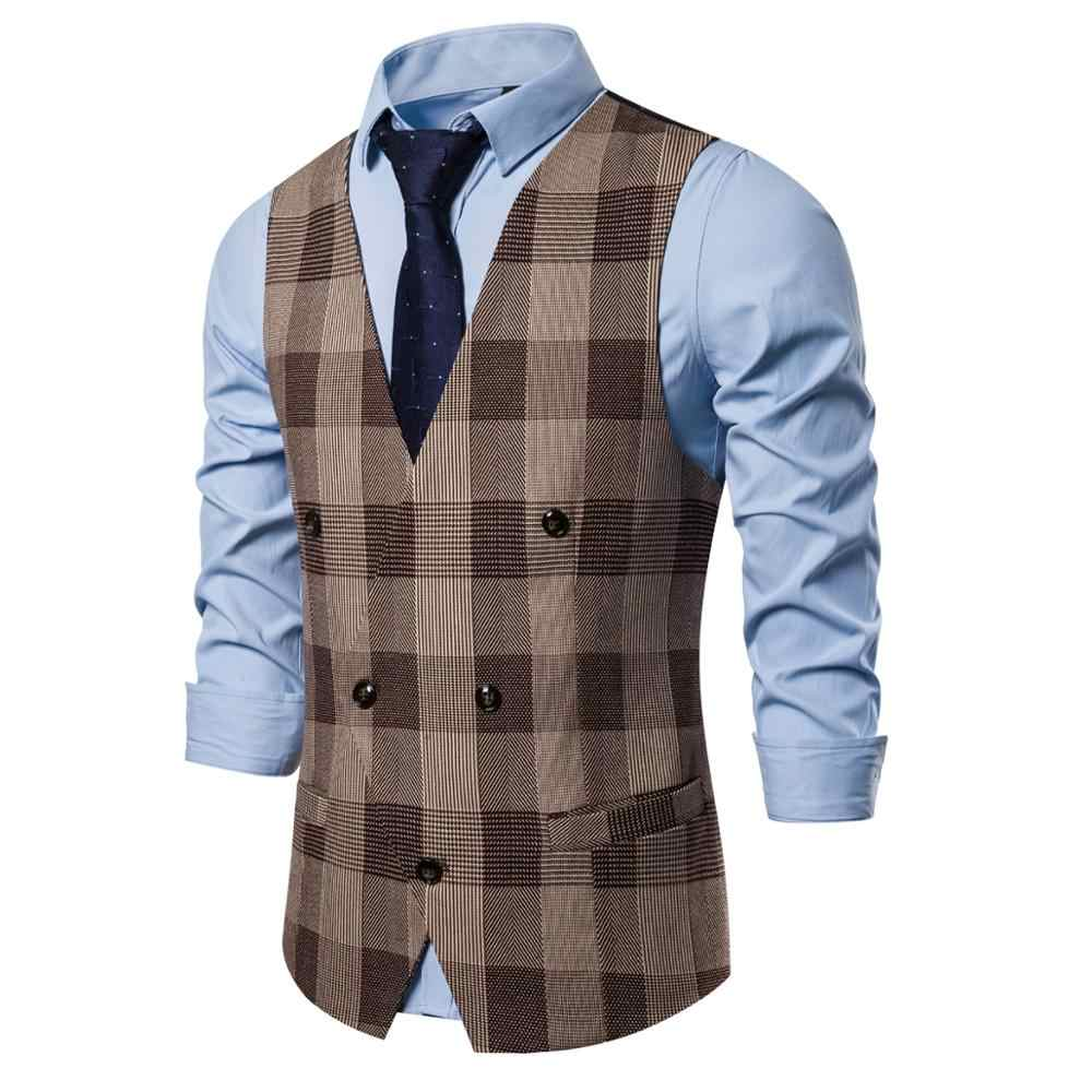 Formele Pak Vest Mannen Slim Fit Double Breasted Kostuum Vesten Homme Mode Witte Mens Wedding Smoking Gilet Homme