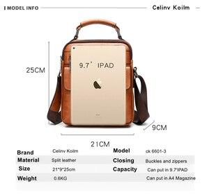 Image 2 - Celinv Koilm Mens Crossbody Shoulder Bags Big Size Split Leather Handbag Fashion Business  Messenger Bag High quality Tote Hot
