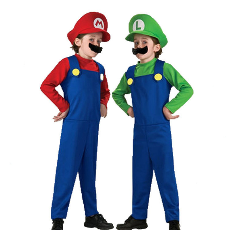 Super Luigi Brother Costume for Kids Halloween Costumes Funny Clothes Ma Cosplay for Boys Girls Fantasia Jumpsuit 3