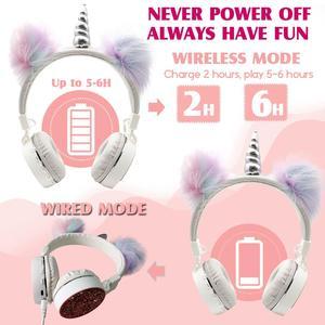 Image 5 - JINSERTA 2020 Unicorns Headphones Kids Headphone Wireless Bluetooth Stretchable Earphone Foldable Stereo Music Cartoon Headset
