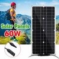 60 Вт Гибкая монокристаллическая солнечная панель  силиконовый элемент  DIY модульный кабель  уличный соединитель  зарядное устройство  водон...