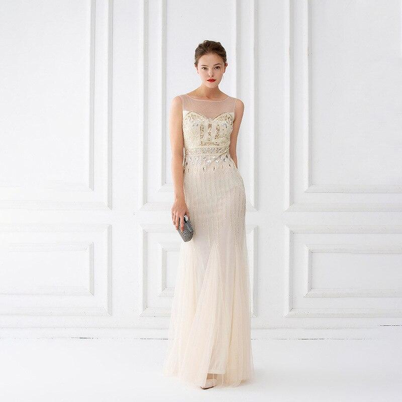 Image 2 - Mermaid Evening Dresses Floor Length Tulle Beaded Champagne  Evening Dresses Sleeveless Evening Dresses Long Vestido De FestaEvening  Dresses