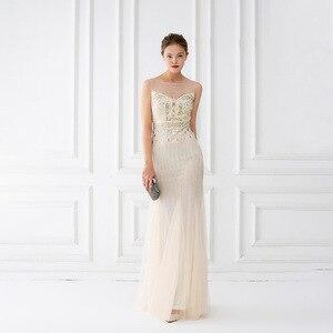 Image 2 - Mermaid suknie wieczorowe długość podłogi tiul zroszony suknie wieczorowe szampana suknie wieczorowe bez rękawów długie Vestido De Festa