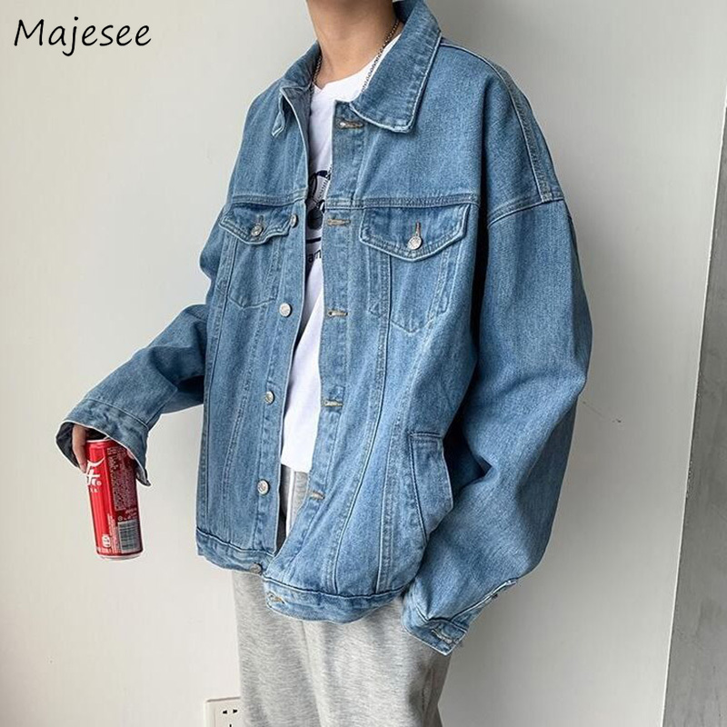 Jackets Men Vintage Blue Loose 2XL Mens Coat Couples Pockets All-match Harajuku Streetwear Daily Casual Fashion Ulzzang Outwear