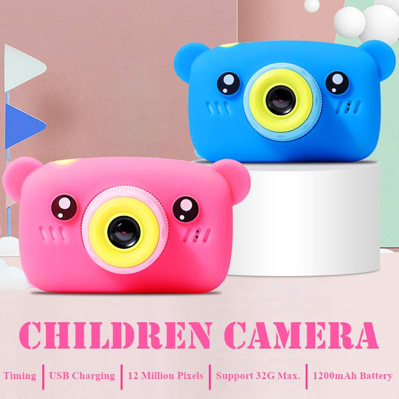 Portable Children 1300W HD Digital Camera Cute Cartoon Bear Shape 2 Inches IPS Screen Mini Camera Toy Gift For Kids
