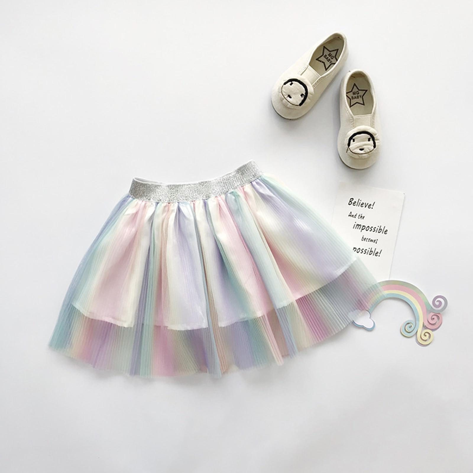 Pudcoco Girl's Rainbow Color Short Skirt Multicolor Elastic Glitter Belt Waist Pleated Skirt Fresh Colorful Baby Summer Clothes