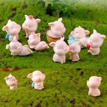 Ornaments Figurine Pig Miniature Animal-Model Fairy-Garden-Decoration Small Statue Piggy
