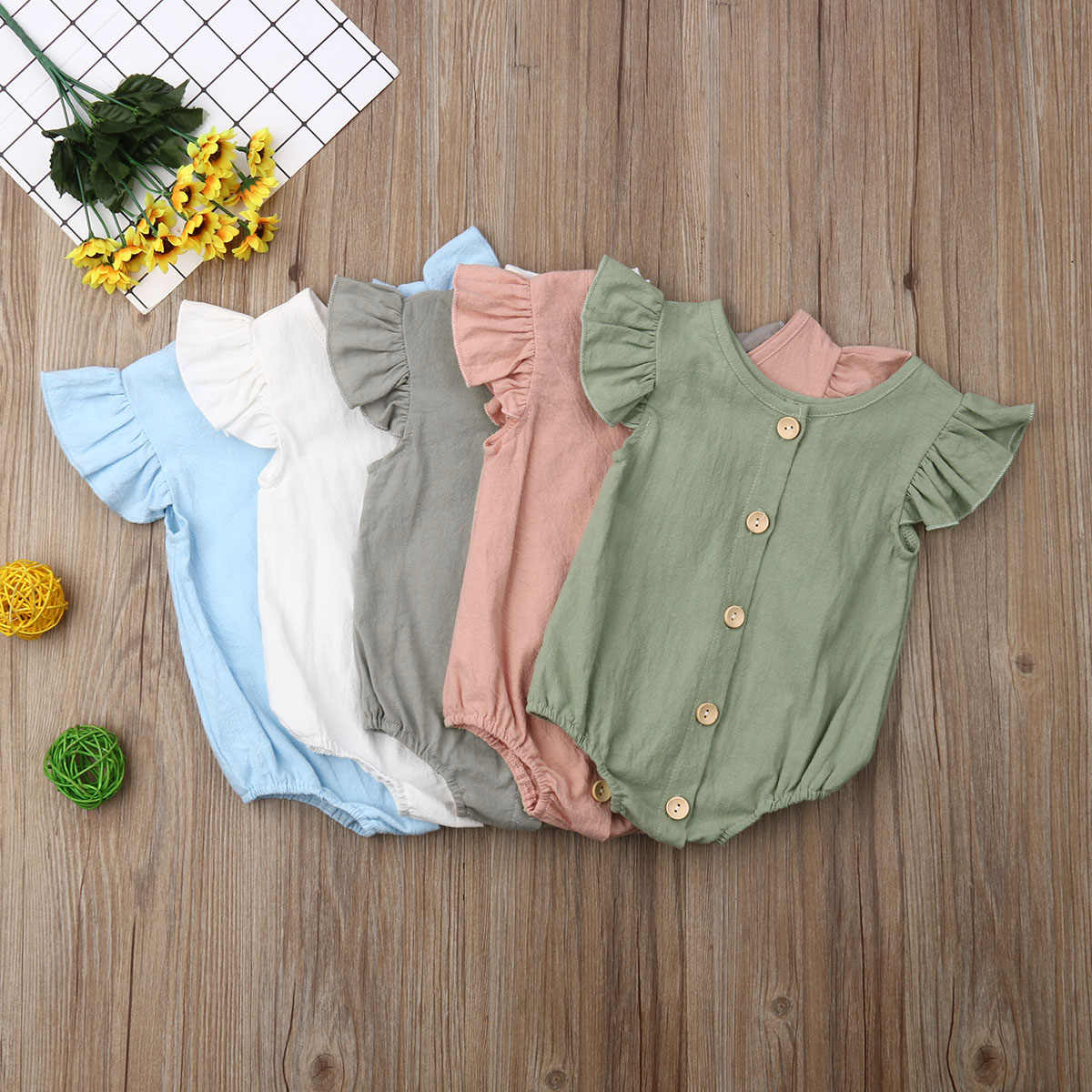 2019 Baby Summer Clothing Infants Baby Girls Boys Bodysuits Pure Color Ruffles Fly Short Sleeve Jumpsuit Clothes Tops Playsuits