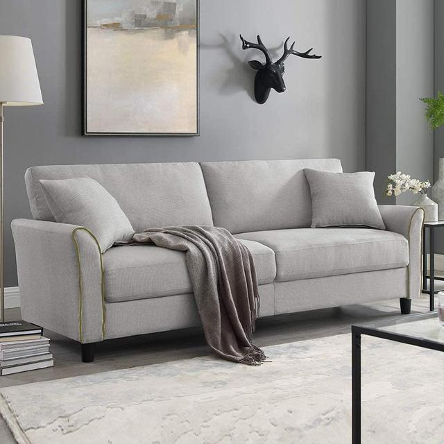 Tribesigns Mid-Century Upholstered 85 Inch Sofa Couch, Modern Linen Fabric Couch for Small Space 2