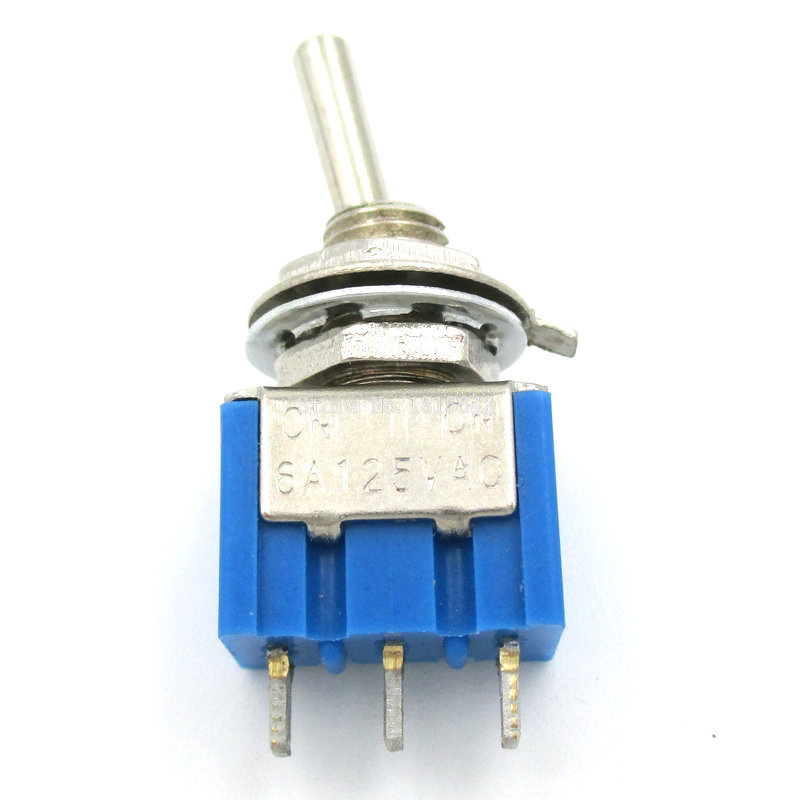 10PCS/LOT Mini MTS-102 3-Pin SPDT ON-ON 6A 125V/3A 250V Toggle Switches ON/ON Good Quality