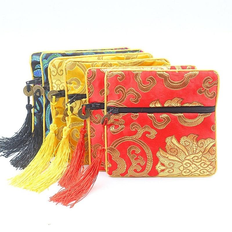 Подарочная сумка ручной работы на молнии, Подарочный Кошелек для монет, китайский стиль, шелковая парча, ювелирная сумка, безделушка, расчес...