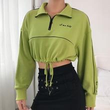 2019 New Women Sweatshirt Cotton Long Sleeve Top Stand Collar Drawstring Sweatshirt Oversize Crop Tops