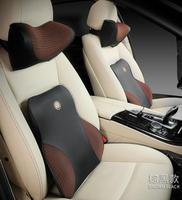 Car Headrest Pillow Lumbar Support Suit Set Memory Foam Breathable Car Headrest Pillow+Waist Support Back Cushion Set