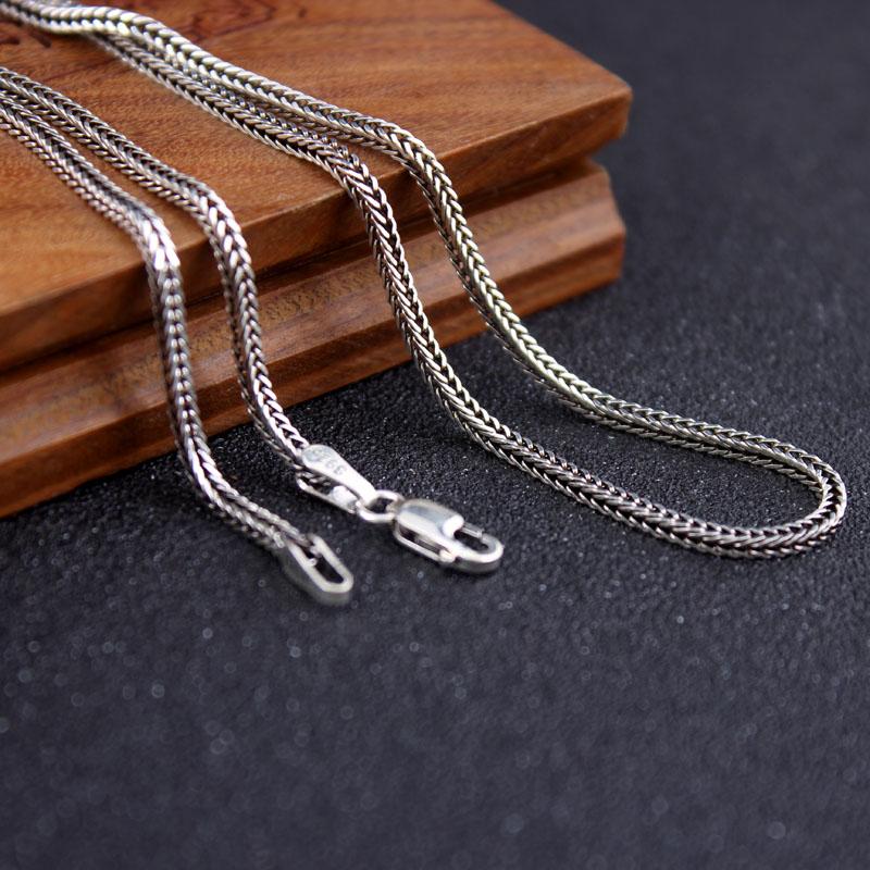 Pur argent armure collier 925 Sterling Thai argent renard queue chaîne collier hommes femmes personnalisé rétro collier mâle bijoux
