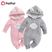 PatPat 2021 Winter Baby Adorable Cloud Hooded Baby Rompers for Baby Boys and Girls Warm Unisex Jumpsuits Clothes