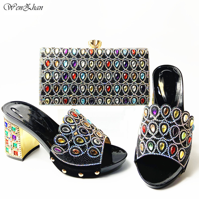 Black African Matching Shoes and Bags Italian In Women Nigerian Party Shoe and Bag Sets With Rhinestones On sales! A911-25