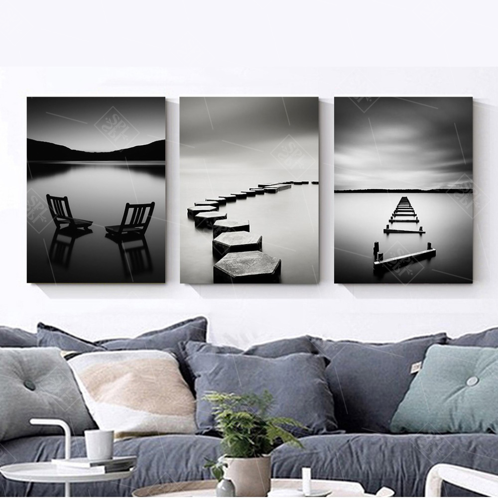 Black-and-White-Landscape-Canvas-Painting-Stone-Wooden-Bridge-Posters-and-Prints-Wall-Art-Pictures-for (1)