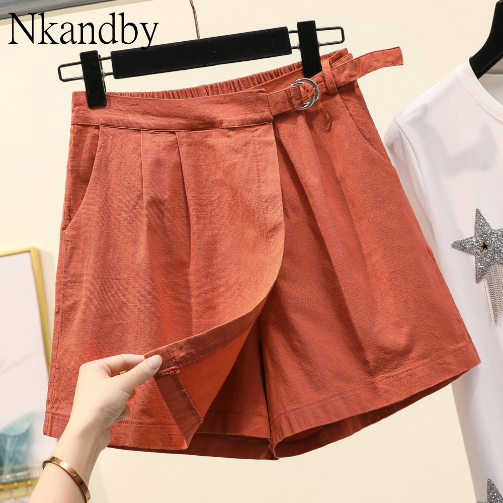 Plus Size Wide Leg Shorts Skirts Women 2020 Summer Trendy Cotton Linen High Wiast Elastic Oversized Loose Thin A-line Shorts