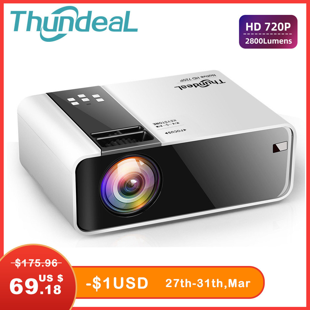 ThundeaL HD Mini Projektor TD90 Native 1280x720 P LED Android WiFi Projektor Video Home Cinema 3D <font><b>HDMI</b></font> Film spiel Proyector image