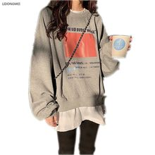 Camisola feminina solto novo falso 2 peças topo primavera moda buracos algodão students topo outerwear casual moletom mulher jaqueta