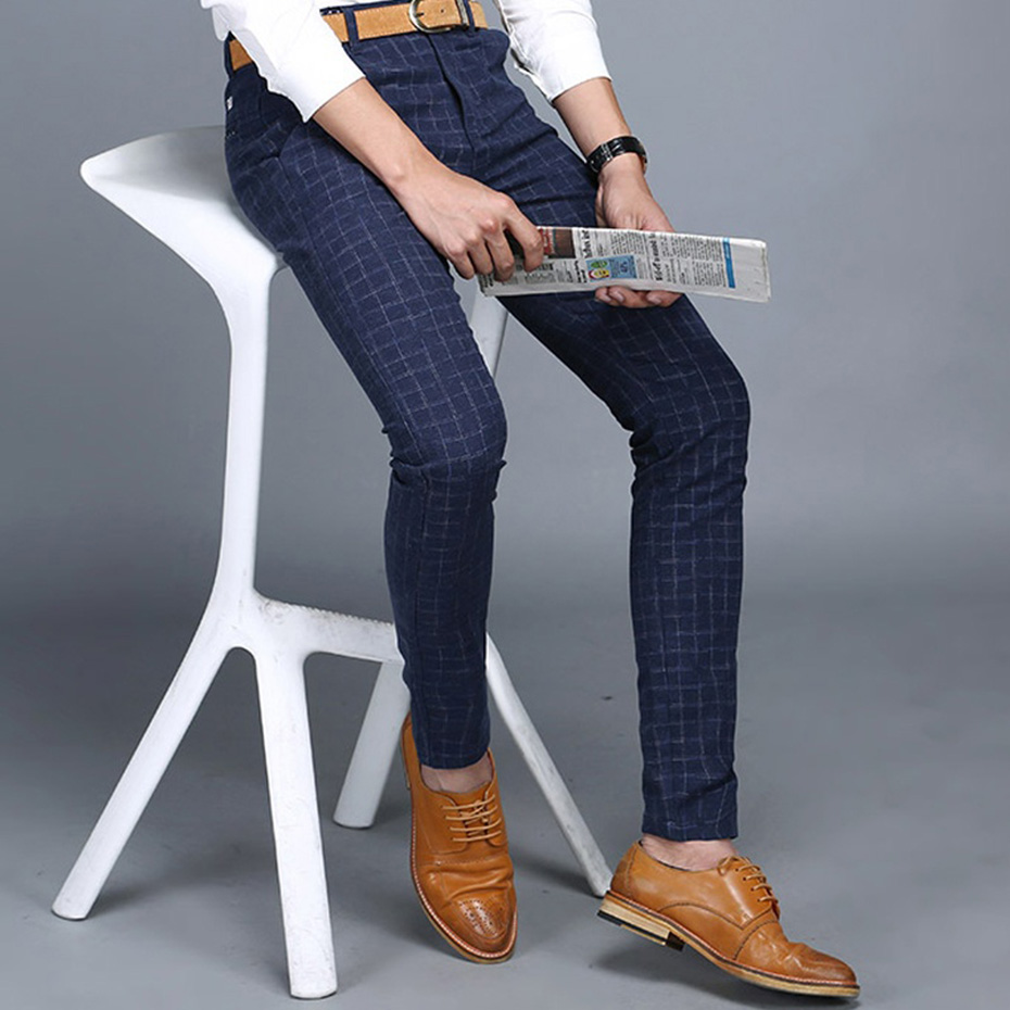 Plaid Check Men Dress Pant Slim Fit Blue Pantalon Costume Homme Summer Dress Pants For Men Pantalon De Vestir Hombre