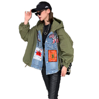QING MO Fashion Brand Denim Patchwork Coat Women Patch Designs Coat Full Sleeve Hooded Coat Green Orange ZQY1526