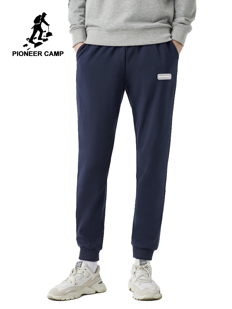 Pioneer Camp Cotton Mens Joggers Spring Straight Causal Fitness Dark Blue Black Streetwear Sweatpants For Male AZZ0102021H